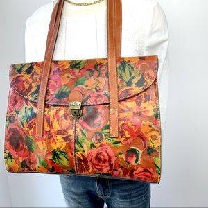 Patricia Nash Floral Leather Tote Computer Bag